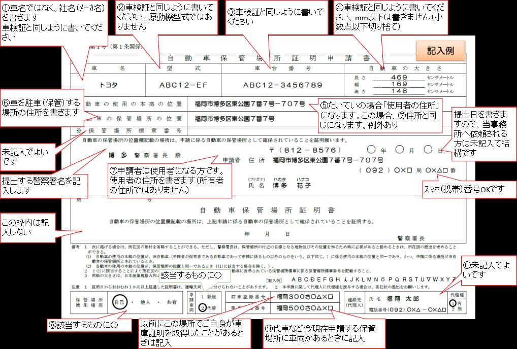 保管場所証明申請書の書き方ガイド